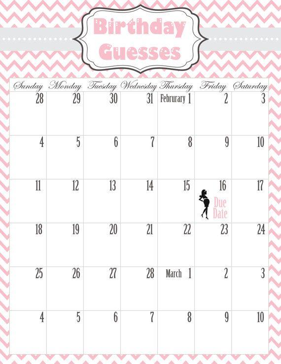 baby shower calendar printable pdf by jschillicustomdesign on etsy