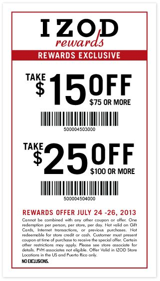Izod coupon in store