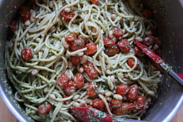 vegan pesto pasta with roasted tomatoes amp white beans