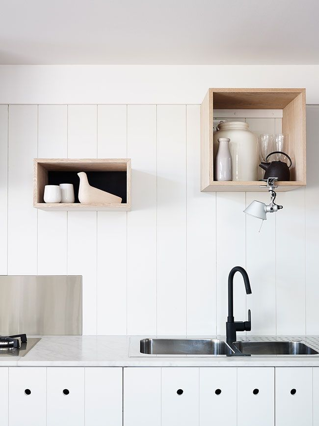 trend alert 11 kitchens with wall mounted box shelving. Black Bedroom Furniture Sets. Home Design Ideas