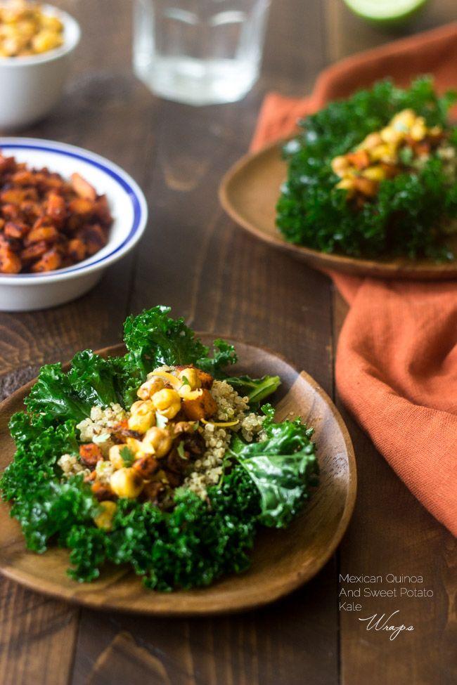 Mexican Quinoa and Sweet Potato Kale Wraps with Honey Lime Vinaigrett ...