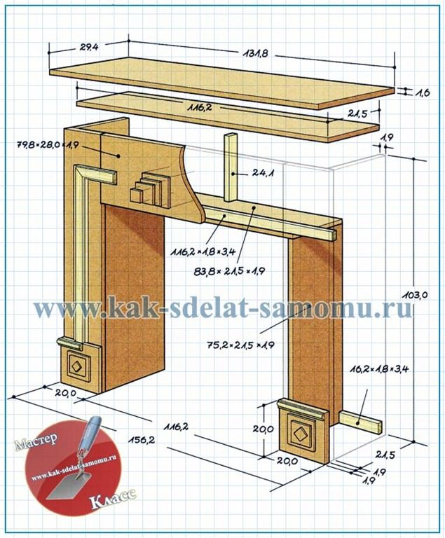 Портал для электрокамина своими руками чертеж 228