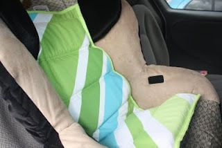 Car seat cooler...fabulous idea. Leave it in the carseat when you spend a hot day at the zoo etc and your child's seat is nice a cool when you come back! or you could just throw a blanket over it. but still a good idea!