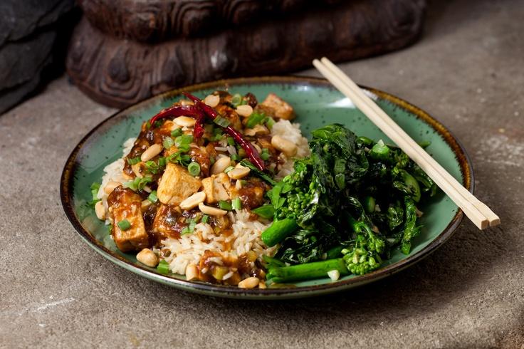 Kung Pao Tofu with Chinese Broccoli & Brown Rice | Recipe