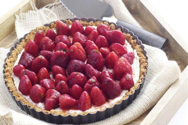 Strawberry Mint Ricotta Tart | Recipe