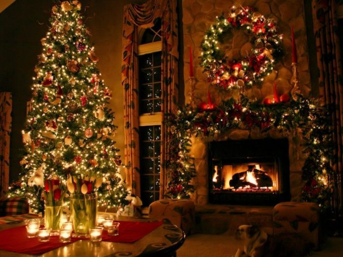 Christmas Tree And Fireplace Christmas Pinterest