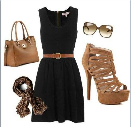 dr dre shop Black Dress Tan Heels  My Style