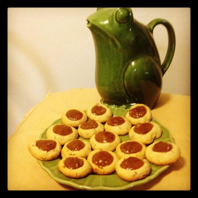 Thumbprint cookies made with the homemade Peach Pecan Amaretto jam I ...