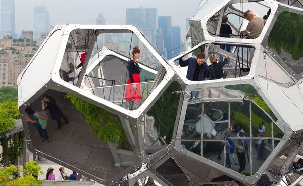 "Tomás Saraceno's ""Cloud City"" on the roof of the Metropolitan Museum of Art in 2012. How can temporary, modular architecture enhance and enliven existing museums?"