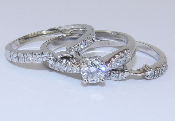 18K White Gold Diamond Engagement Wedding Ring w Guards $1250 00