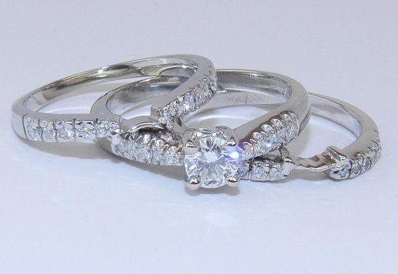 18K White Gold Diamond Engagement Wedding Ring w Guards $1250 00