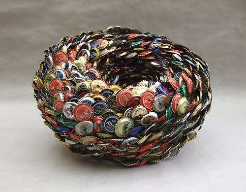 repurpose bottle caps into a bowl! How cool!