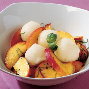 Lemon and Basil sorbet with peaches. | Sweet | Pinterest