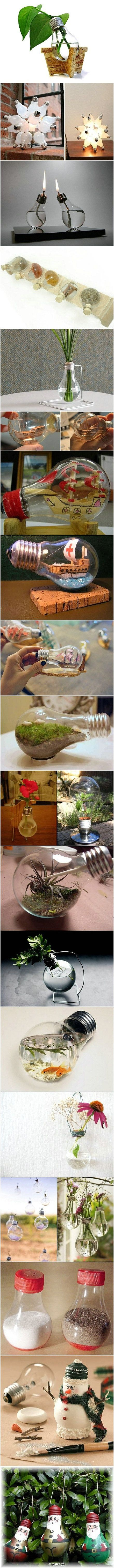 Recycled lightbulbs! I love this idea because I always hate throwing them away