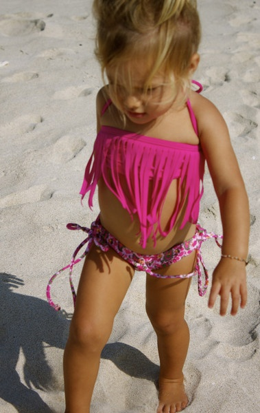 Kimi & Li.  The sweetest fringe baby, kids bikini....