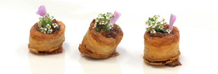 Flower pots with herb goat cheese and wild mushroom duxelles in a vol ...