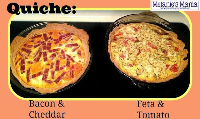 Melanie's Mania: Recipe - Quiche ~ Bacon/Cheddar and Feta/Tomato
