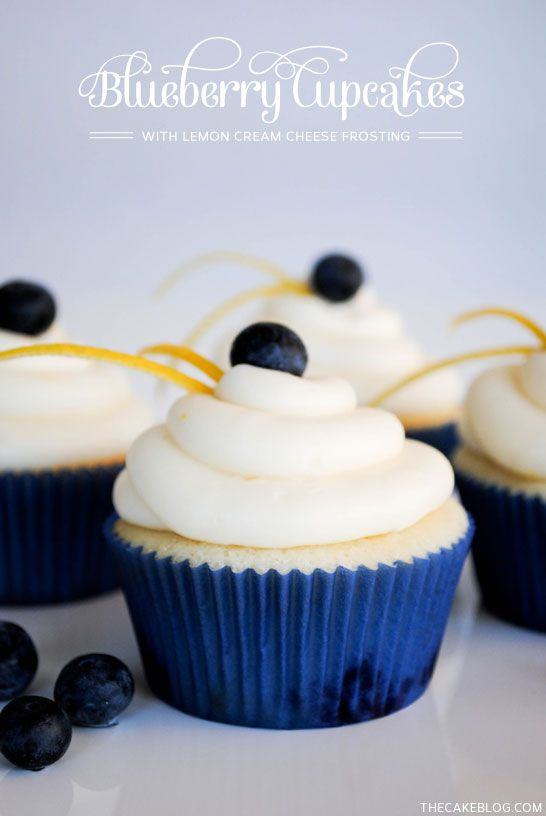 Lemon Blueberry Cupcake Recipe  |  TheCakeBlog.com
