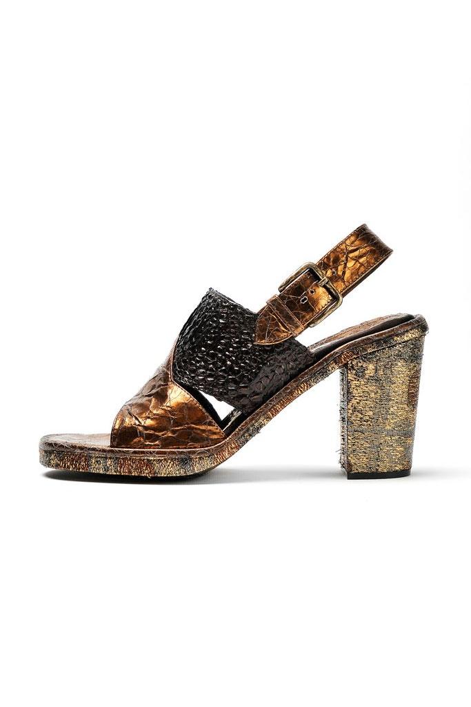 fall 2012, Rochas, shoes, high heels, metallic, brown