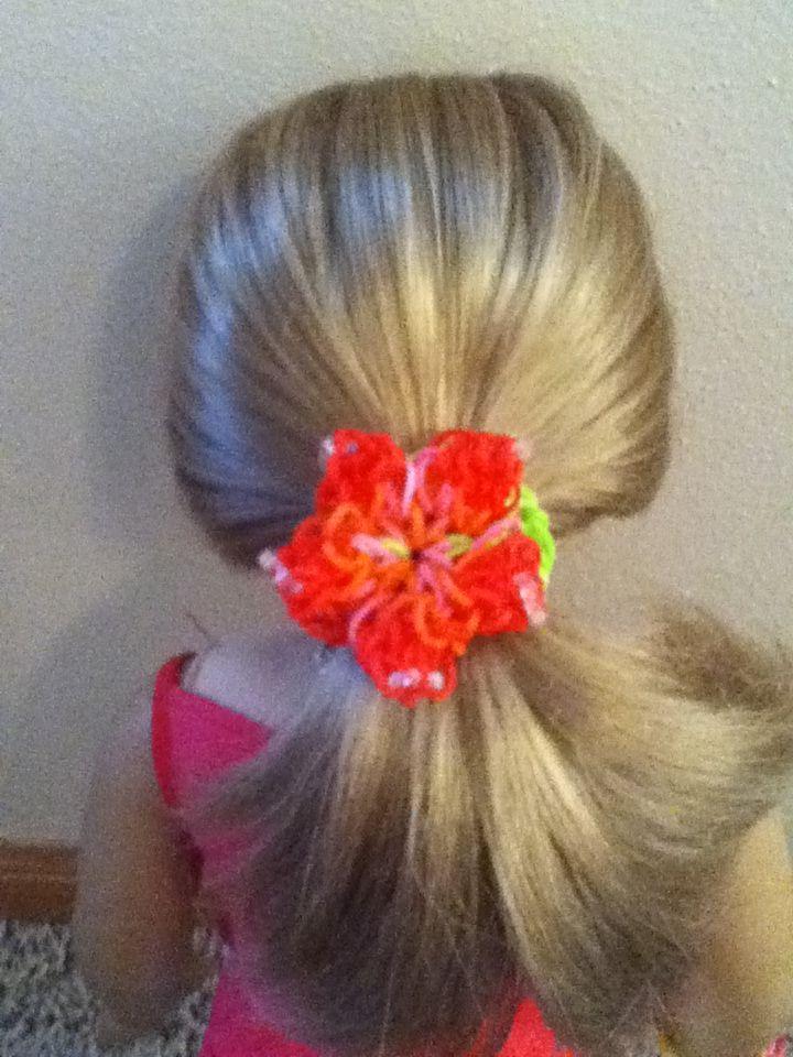 rainbow loom hibiscus bracelet makes a great hair tie for