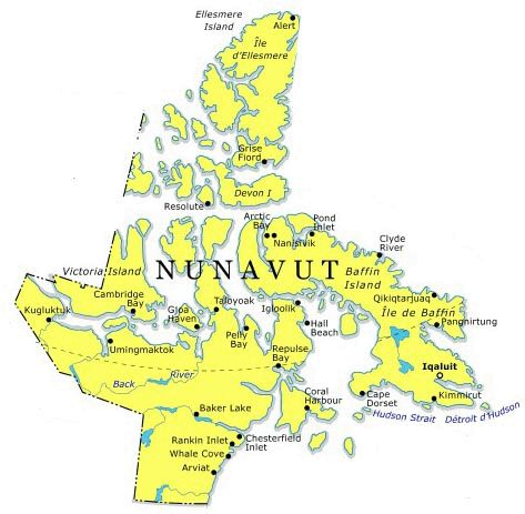 where is nunavut canada on a map