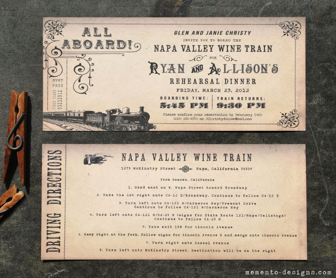 Vintage Train Ticket Invitation DIY PRINTABLE. $20.00, via Etsy.