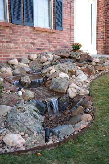 Pondless water feature for the home pinterest for Front yard garden designs with water feature