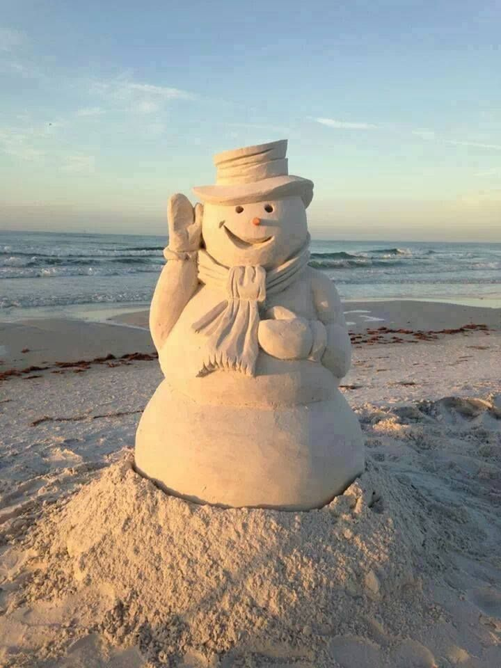 Florida beach snowman snow men pinterest for Winter vacations in florida