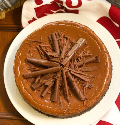 Double Chocolate Cheesecake with Chocolate Curls