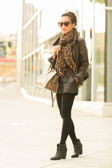 Autumn Throwback :: Aviator jacket & Leopard scarf