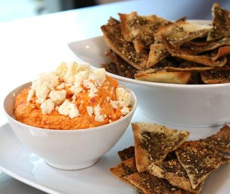 ... pepper dip w/ feta + served with za'atar seasoned pita chips... mmmmm