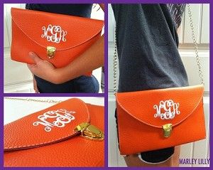 Monogrammed Orange Luxe Cross Body Clutch