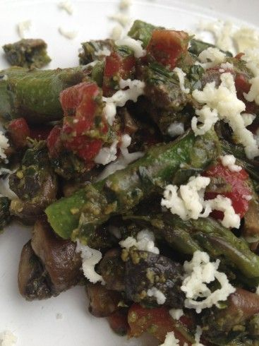 ... Mushrooms, and Roasted Red Peppers with Pesto (and a fitness update