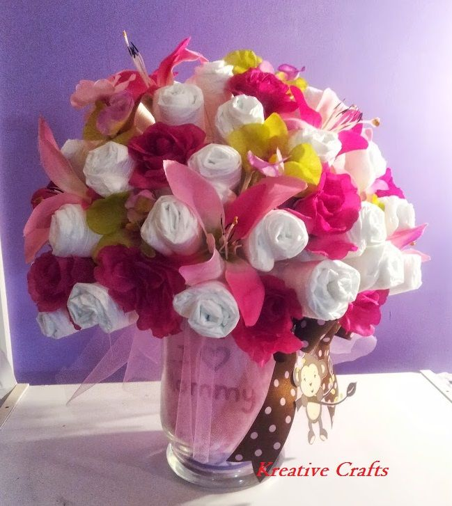 Pin by jennifer nada cabral on making this pinterest for Pink diaper bouquet