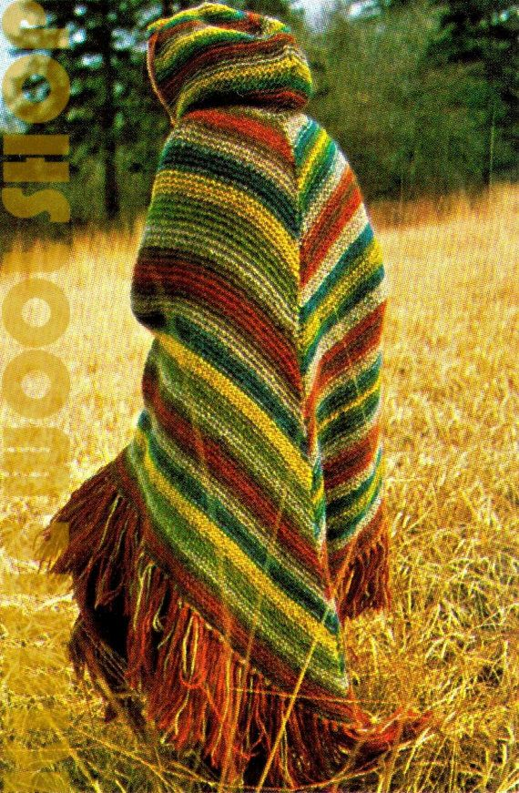 Knitting Pattern Cape With Hood : Vintage 70s Knitted