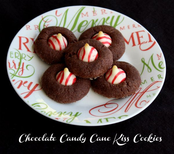 Chocolate Candy Cane Kiss Cookies | Recipe