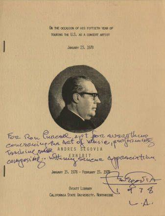 """Andrés Segovia Exhibit program, January 15, 1978 - February 15, 1978. This exhibit was a celebration """"On The Occasion Of His Fiftieth Year Touring the U.S. As A Concert Artist, January 23, 1978."""" The program was signed by Segovia and given to CSUN music professor Ron Purcell. Maestro Segovia was occasionally a guest lecturer in the CSUN Music Department; he was also presented with an honorary degree by CSUN in 1983. CSUN University Digital Archives."""