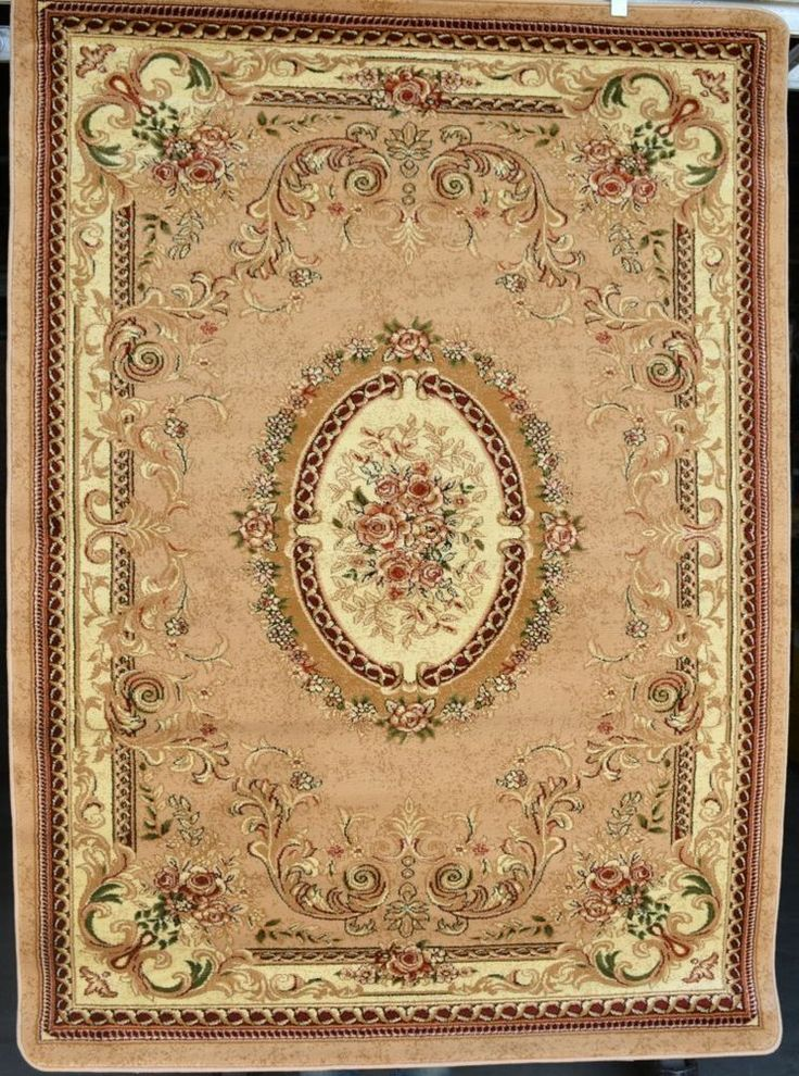 Beige Ivory Green Floral Victorian Oriental Floral Area