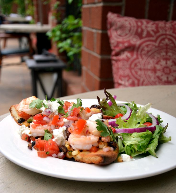 Sautéed shrimp flatbread with black bean & corn salsa, bacon, pico de ...