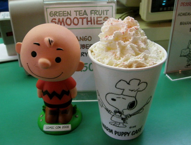 Peppermint Patty hot cocoa w/Charlie Brown at the Warm Puppy Cafe ...
