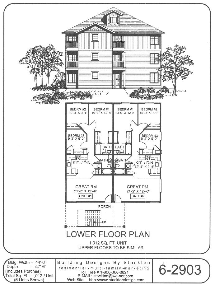 6 plex 44x67 apartment house plan ideas pinterest for 8 plex apartment plans