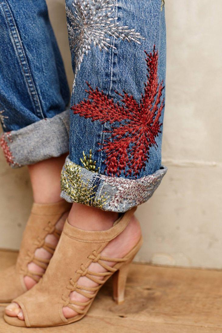 Вышивка лентами на джинсах 57