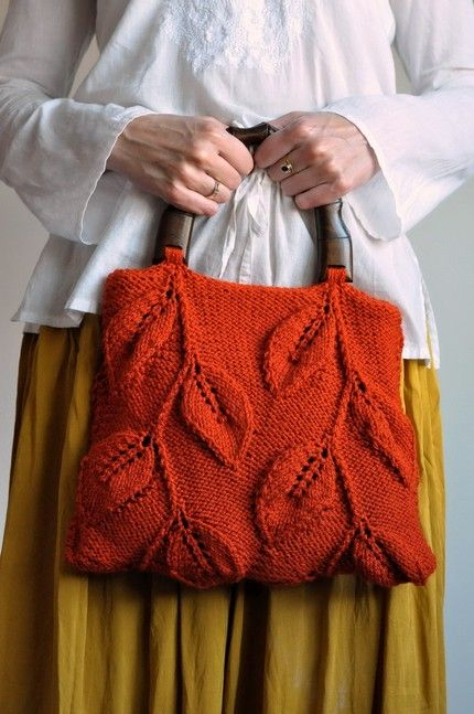 leafy design knitted bag...beautiful bag..I need this thru the Hollidays