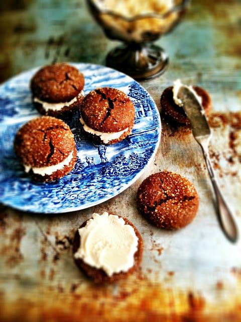 Brown Butter Ginger Cookies with Honey Mascarpone Cream