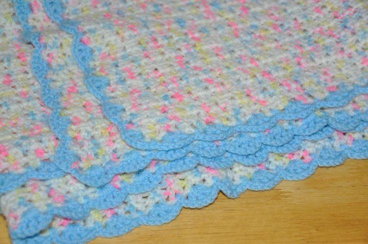 Crochet Baby Blanket Patterns Variegated Yarn : Handmade Crochet Baby Blanket Afghan Pastel Variegated 40x34