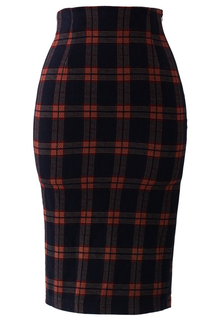 blue tartan pencil skirt style fashion