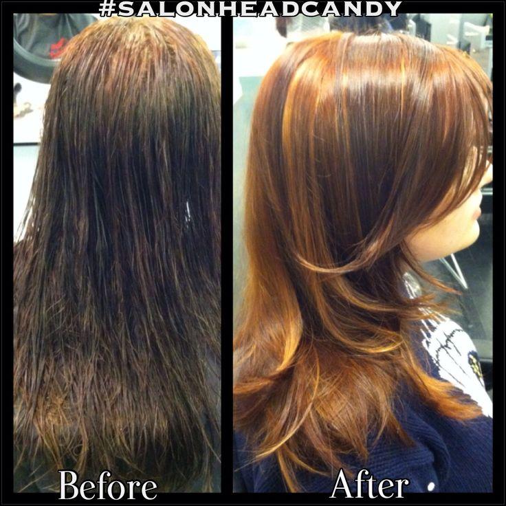 this hot & firey lil redhead by Robin! Balayage highlights & lowlights ...