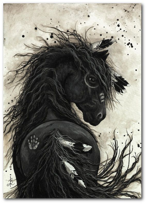 Friesian Black Horse Native American Feathers War by AmyLynBihrle