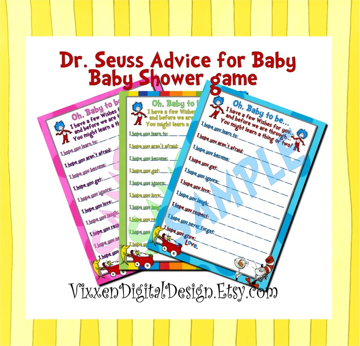 dr suess baby shower ideas dr seuss baby advice baby shower game