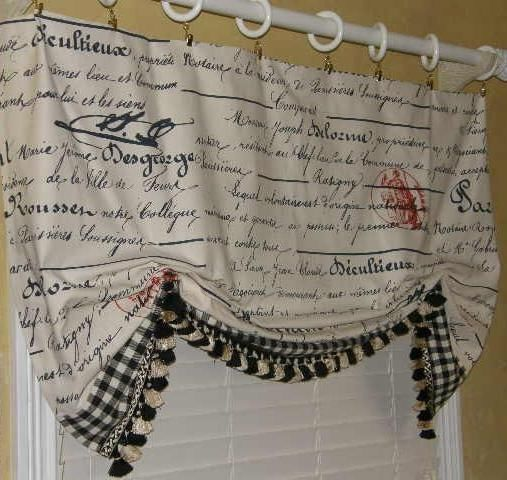 ... Country Provence Tres Chic Script LONDON BALLOON Valance Curta